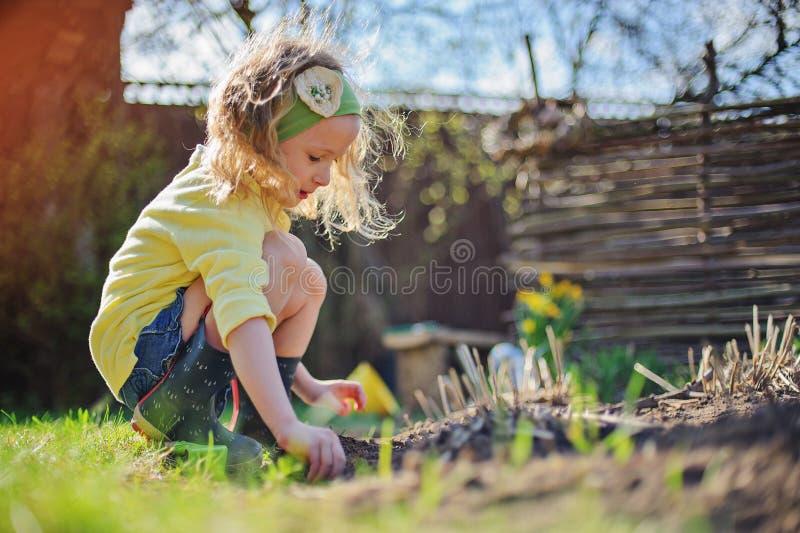 Fille adorable d'élève du cours préparatoire dans le cardigan jaune plantant le jardin ensoleillé de fleurs au printemps photo libre de droits