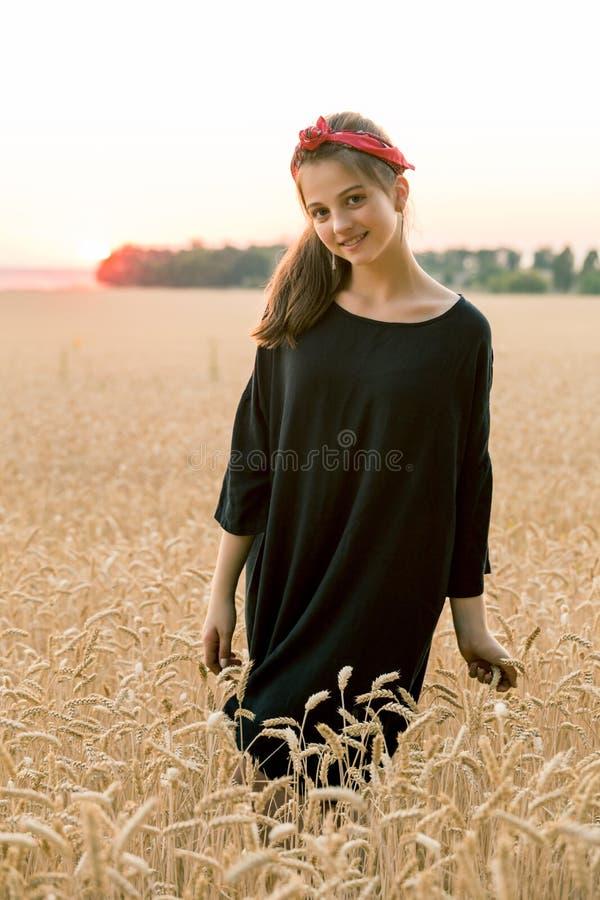 Fille adorable se tenant sur le champ de blé photo stock