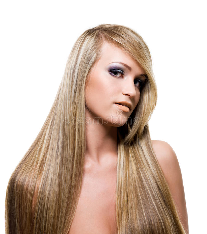Fille adulte avec les poils blonds de beauté image stock