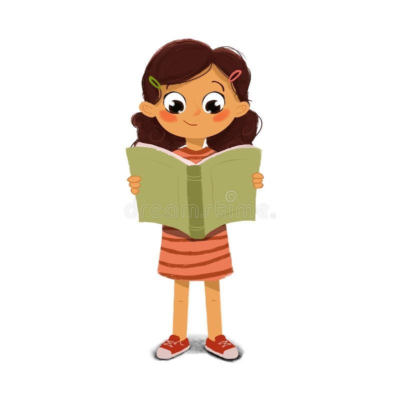 Fille affichant un livre illustration stock