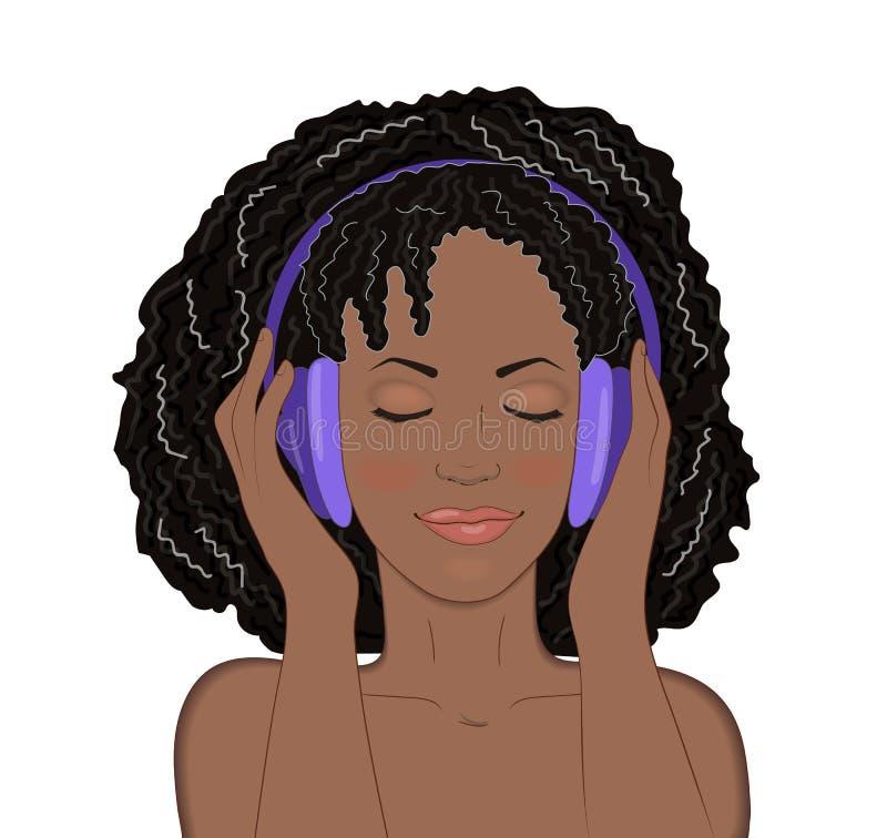 Fille africaine avec des yeux fermés et un sourire écoutant la musique dans des écouteurs sur le fond blanc illustration stock