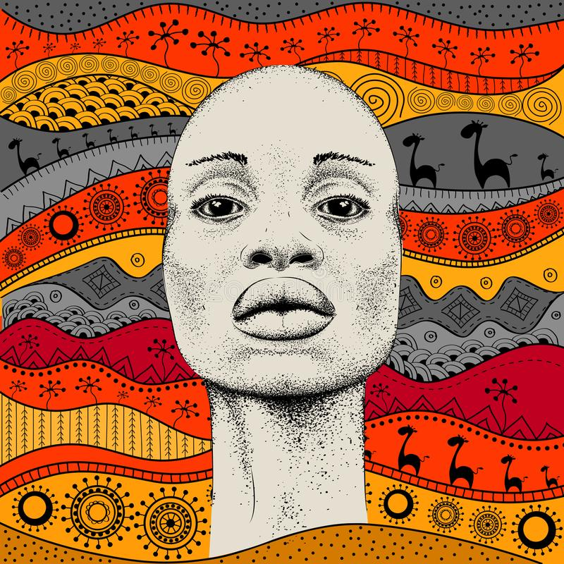 Fille africaine avec le modèle africain d'ethno d'aspiration de main, fond tribal Belle femme de couleur Vue de profil Illustrati illustration libre de droits