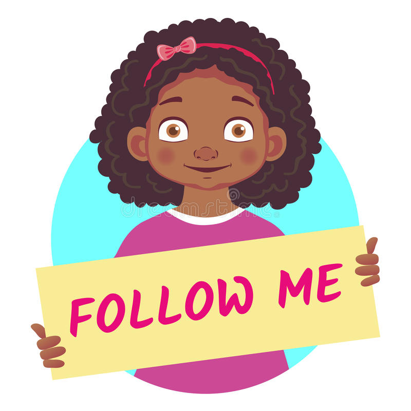 Fille africaine tenant l'affiche - suivez-moi illustration stock