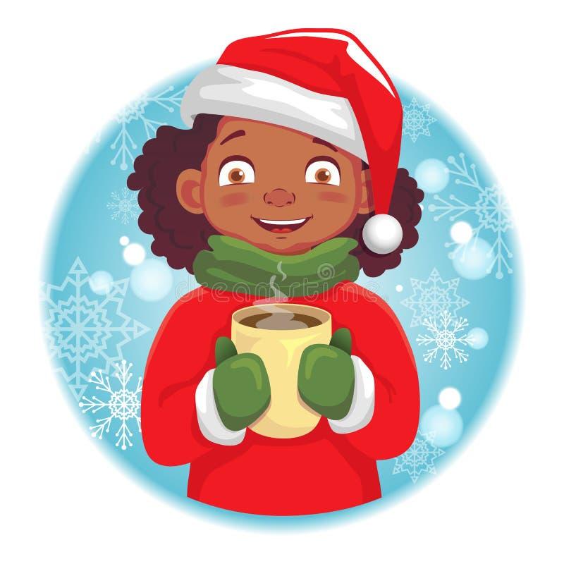 Fille afro-américaine tenant une tasse chaude illustration stock