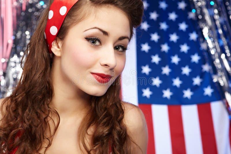 Fille américaine patriote sexy image stock