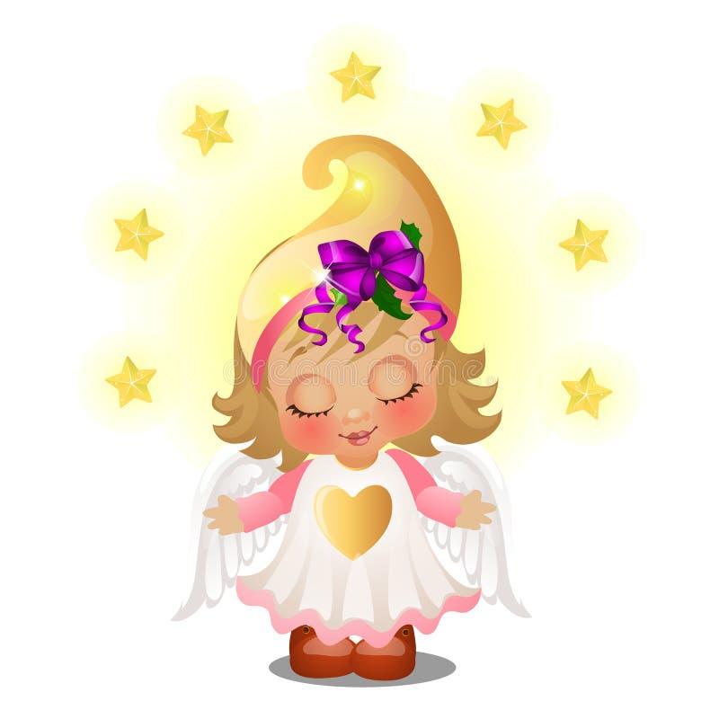 Fille animée mignonne avec des ailes d'ange souriant avec des yeux fermés d'isolement sur le fond blanc Croquis de Noël de fête illustration de vecteur