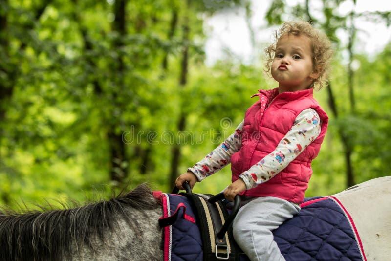 Fille appréciant l'équitation dans les bois, jeune jolie fille avec les cheveux bouclés blonds sur un cheval avec les feuilles ré photos libres de droits