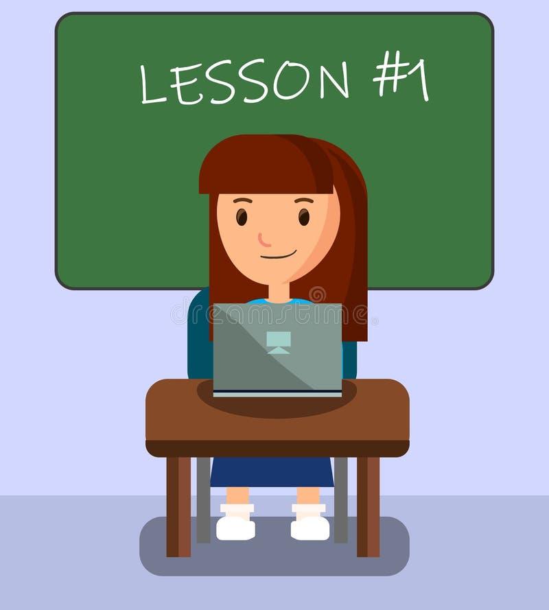 Fille apprenant dans la salle de classe utilisant l'ordinateur portable sur la leçon illustration stock