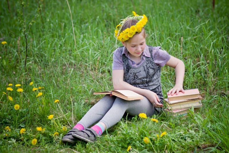 Fille apprenant dans le pré photos libres de droits