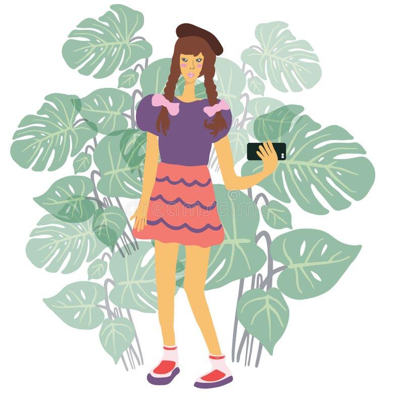 Fille asiatique avec des tresses posant pour le selfie sur le smartphone avec le fond tropical de feuilles illustration de vecteur