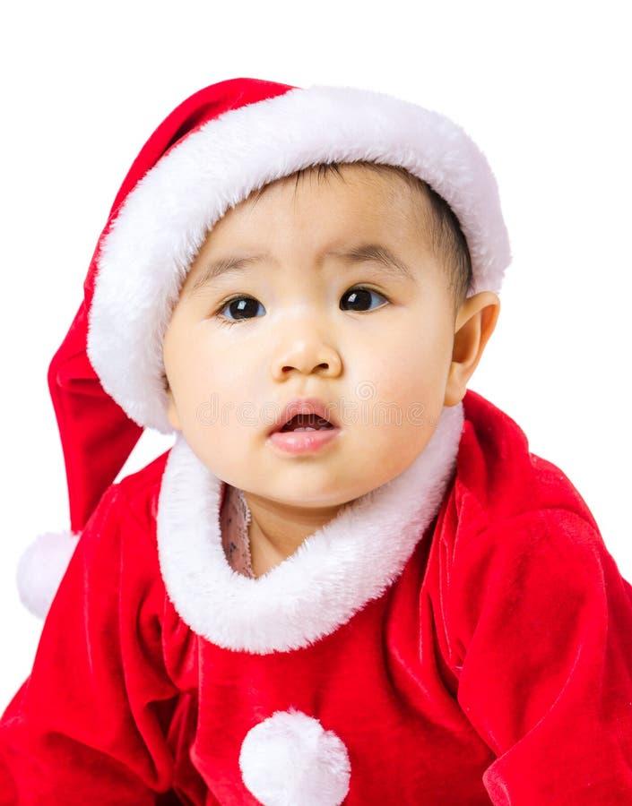 Fille asiatique avec le habillage de Noël image stock