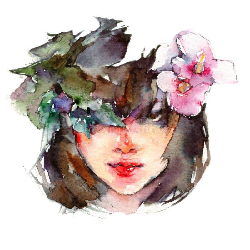 Fille asiatique d'aquarelle avec des fleurs photos stock