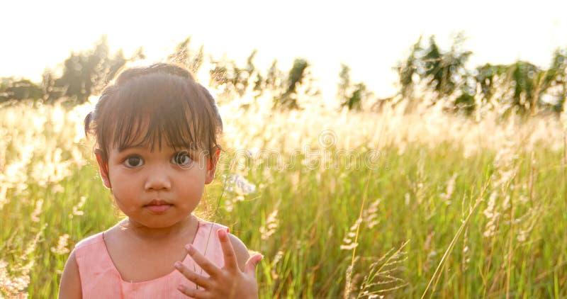 Fille asiatique d'enfant riant et heureuse sur le pré en été en nature photographie stock libre de droits