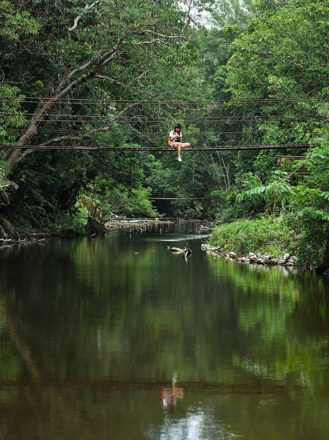 Fille asiatique de botaniste apprenant l'activit? en plein air d'aventure avec le mode de vie dans la for?t tropicale images stock