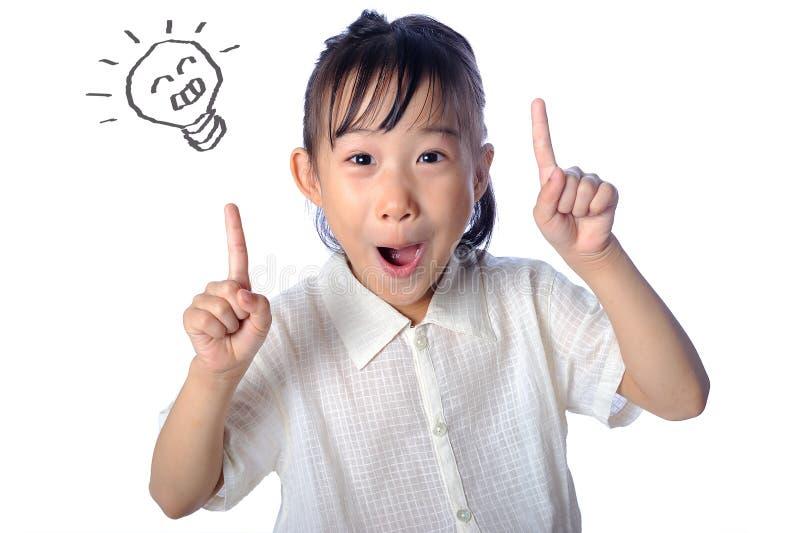 Fille asiatique de portrait petite faisant isoler une idée photos libres de droits
