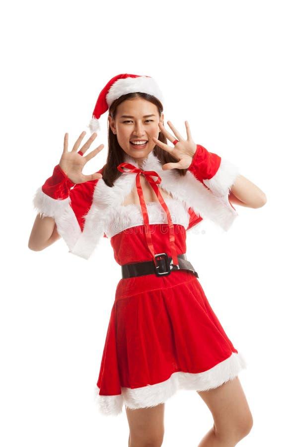 Fille asiatique de Santa Claus de Noël image stock
