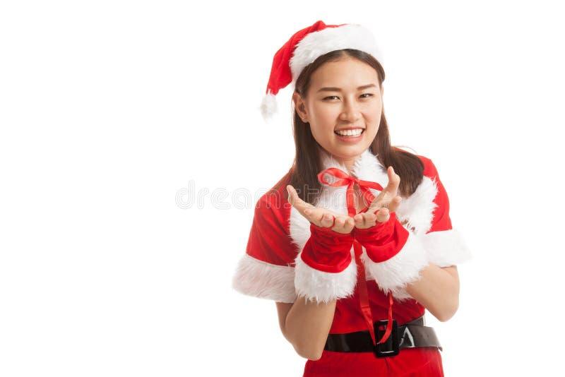 Fille asiatique de Santa Claus de Noël image libre de droits