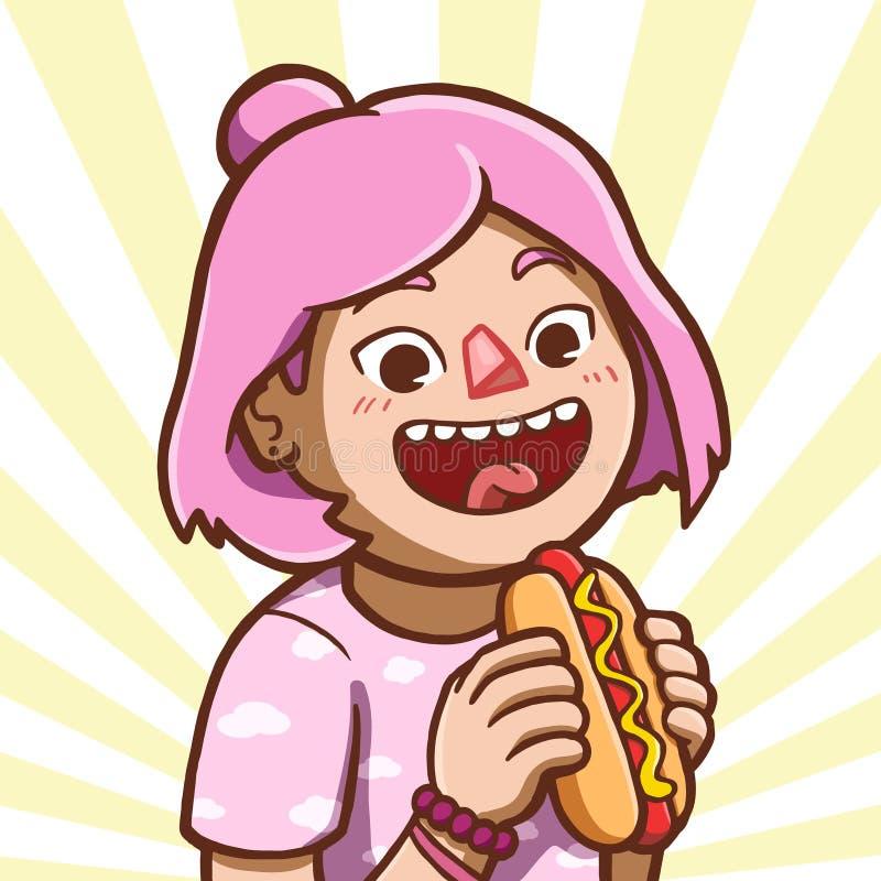 Fille asiatique mangeant le hot-dog illustration stock