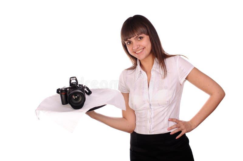 Fille assez jeune avec l'appareil-photo de dslr image libre de droits