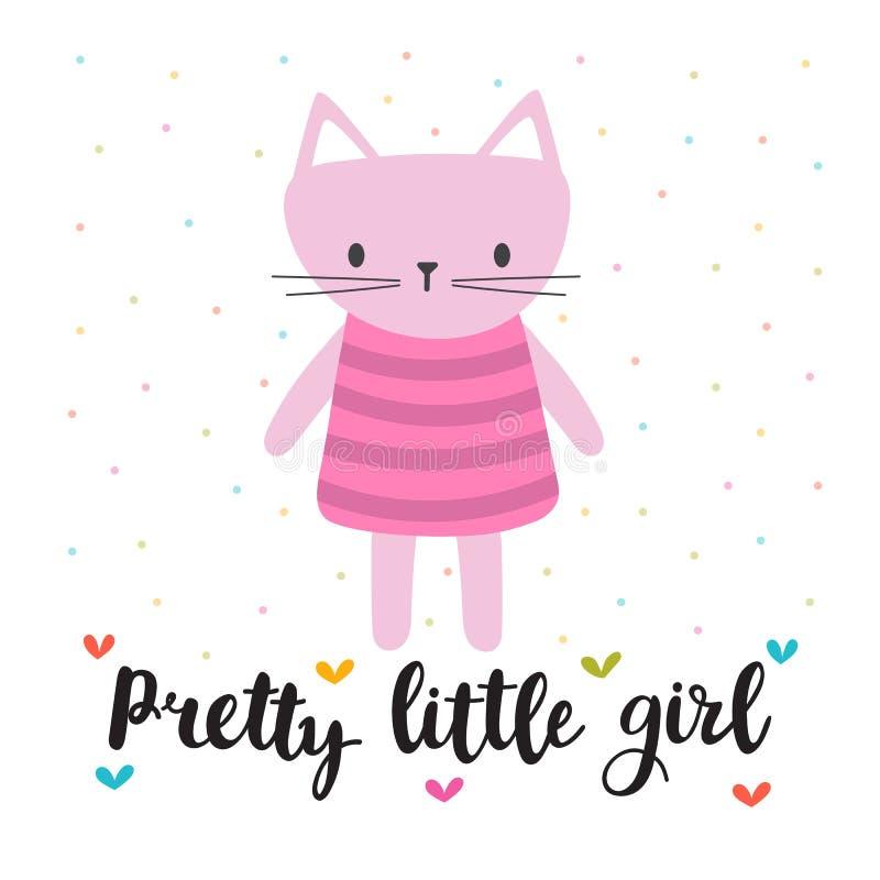 Fille assez petite Petit minou mignon Carte romantique, carte de voeux ou carte postale Illustration avec le beau chat illustration stock