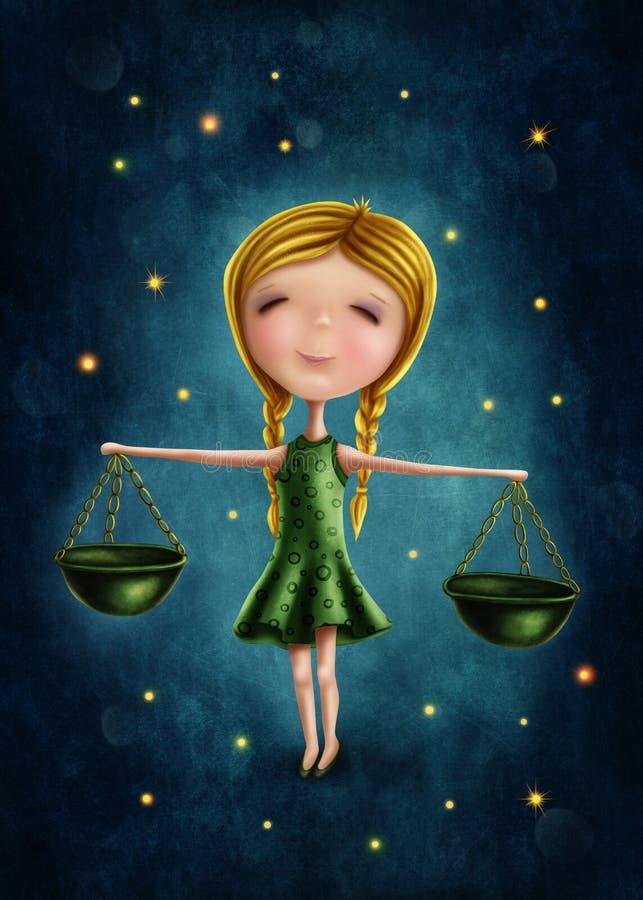 Fille astrologique de signe de Balance illustration de vecteur