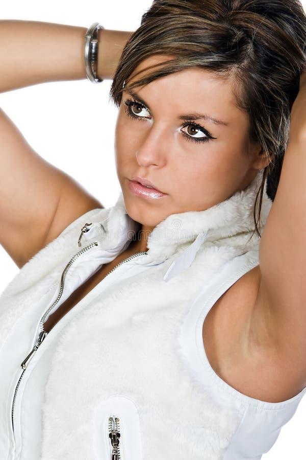 fille attirante de yeux foncés de brunette images stock
