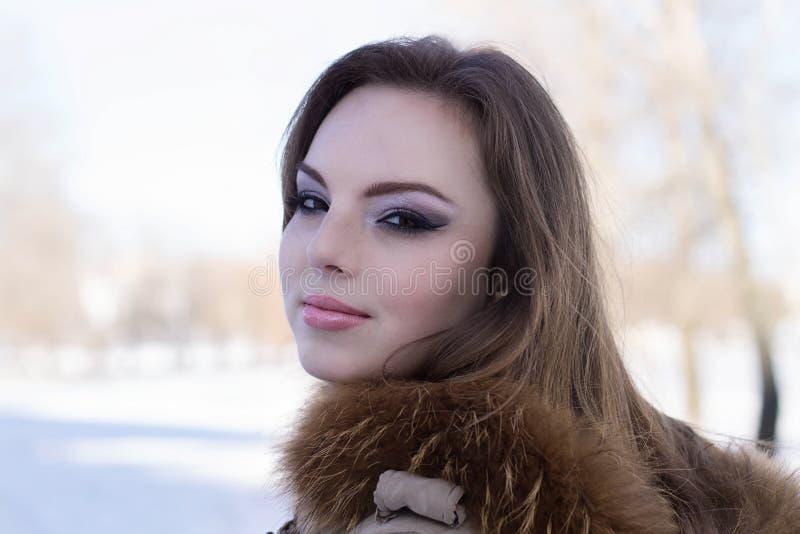 Fille attirante sur le remblai de glace d'hiver photographie stock