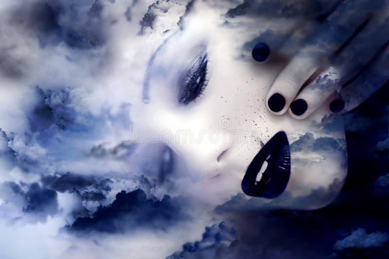 Fille au-dessus d'un ciel nuageux foncé photos libres de droits