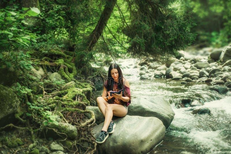 Fille aux cheveux foncés attirante de charme Sidin sur les roches près de la rivière claire froide de montagne en canyon de Martv photo stock