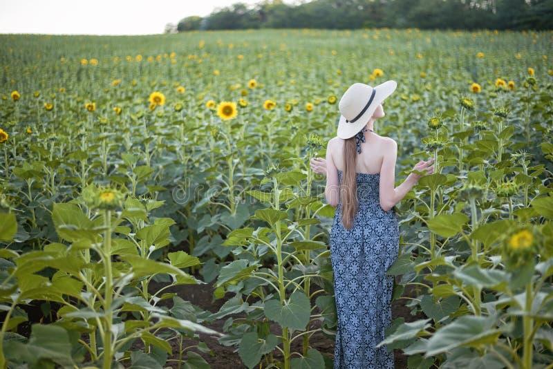 Fille aux cheveux longs dans des supports d'un chapeau et de robe avec le sien de retour dans la perspective d'un gisement de flo photographie stock