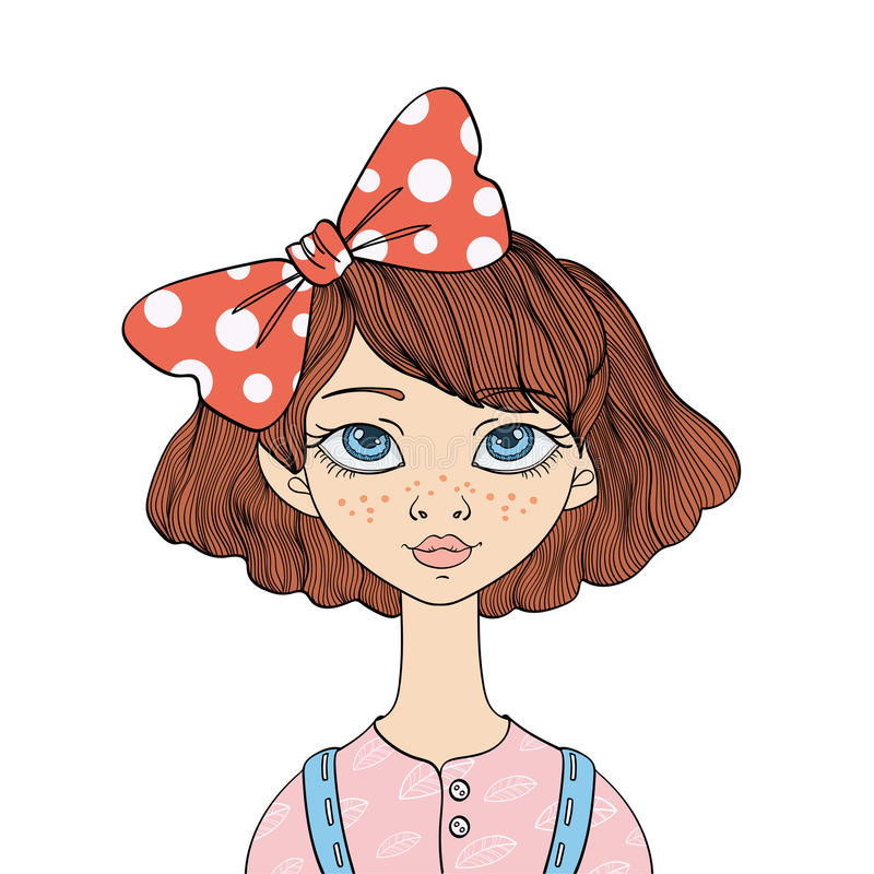 Fille aux yeux bleus mignonne avec un arc dans ses cheveux Dirigez l'illustration de portrait, d'isolement sur le fond blanc illustration stock