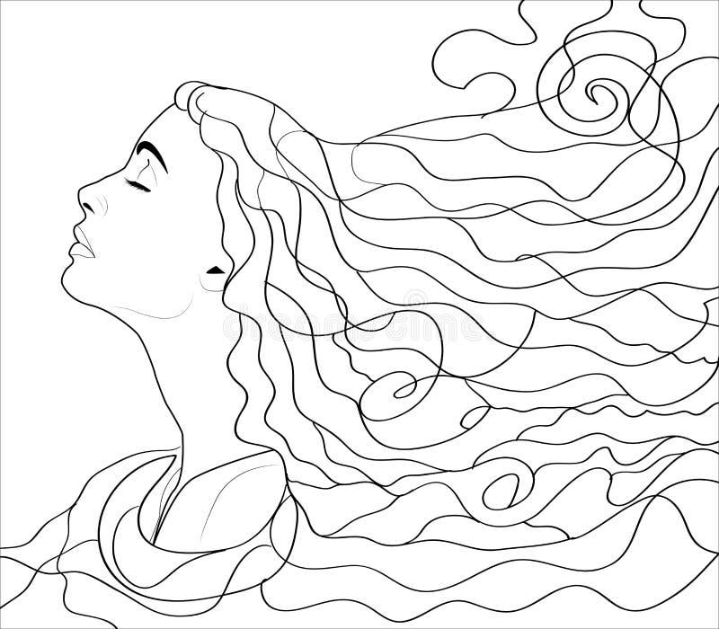 Fille avec couler les cheveux, illustration tirée par la main de toile pour livre de coloriage illustration de vecteur