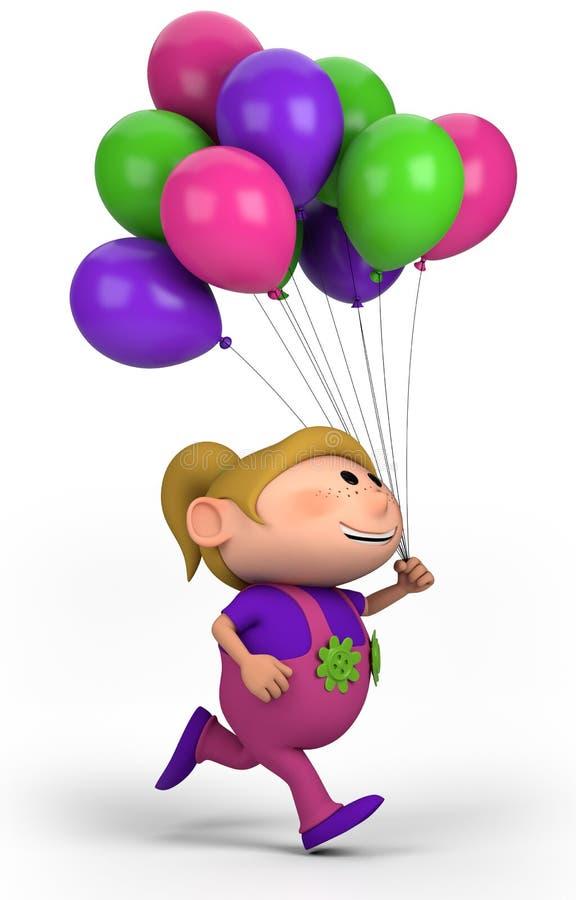 Fille avec des ballons illustration stock