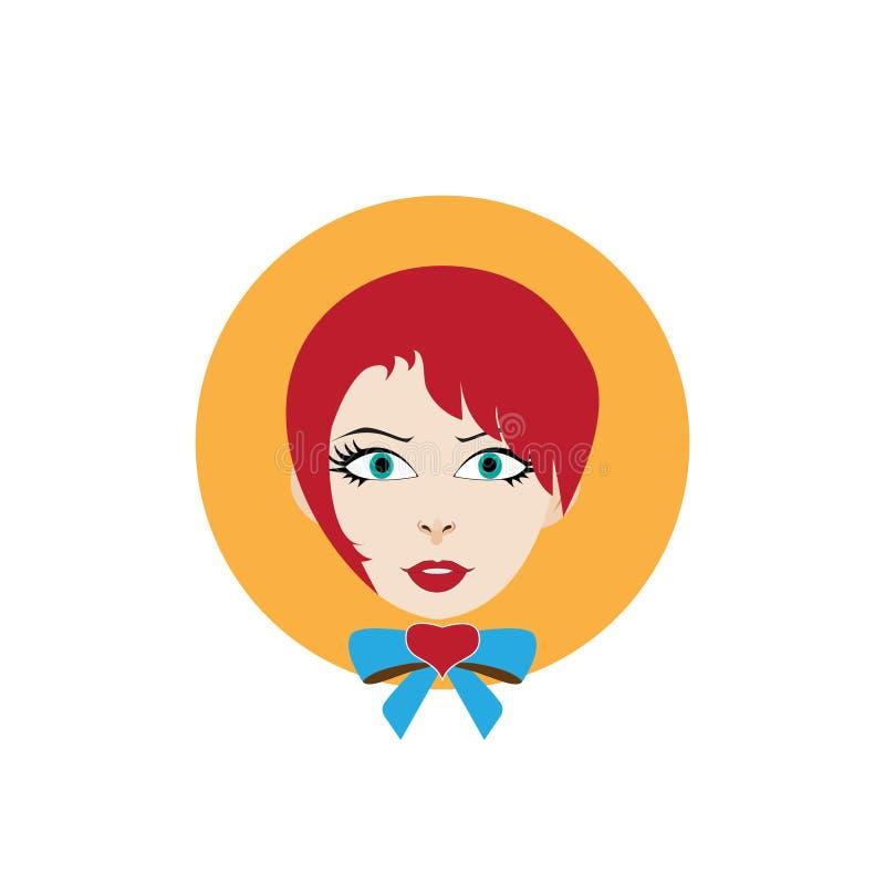 Fille avec des cheveux rouges et un arc-noeud photo stock