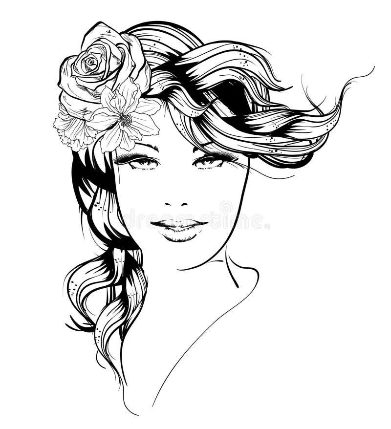 Fille avec des fleurs dans son cheveu illustration libre de droits