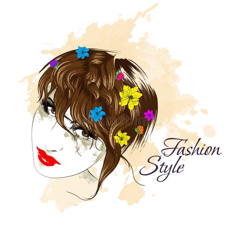 Fille avec des fleurs dans son cheveu illustration stock