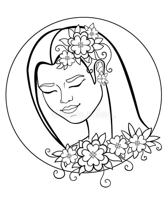 Fille avec des fleurs dans son cheveu Une femme dans une guirlande Guirlande des fleurs et des lames Dessin au trait Pour la colo illustration de vecteur