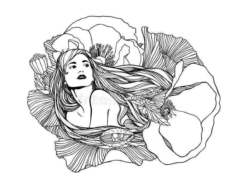 Fille avec des fleurs de pavot Illustration de vecteur illustration libre de droits