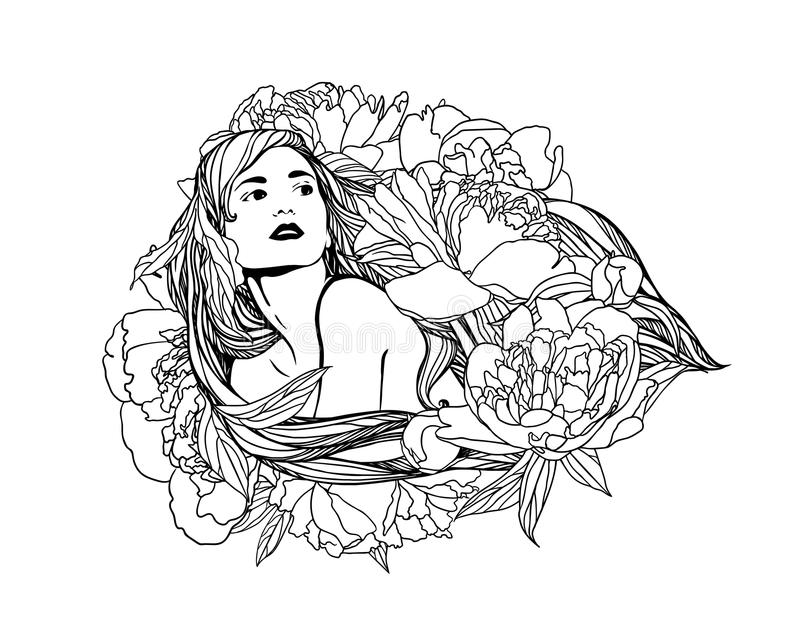 Fille avec des fleurs de pivoine dans les cheveux illustration stock