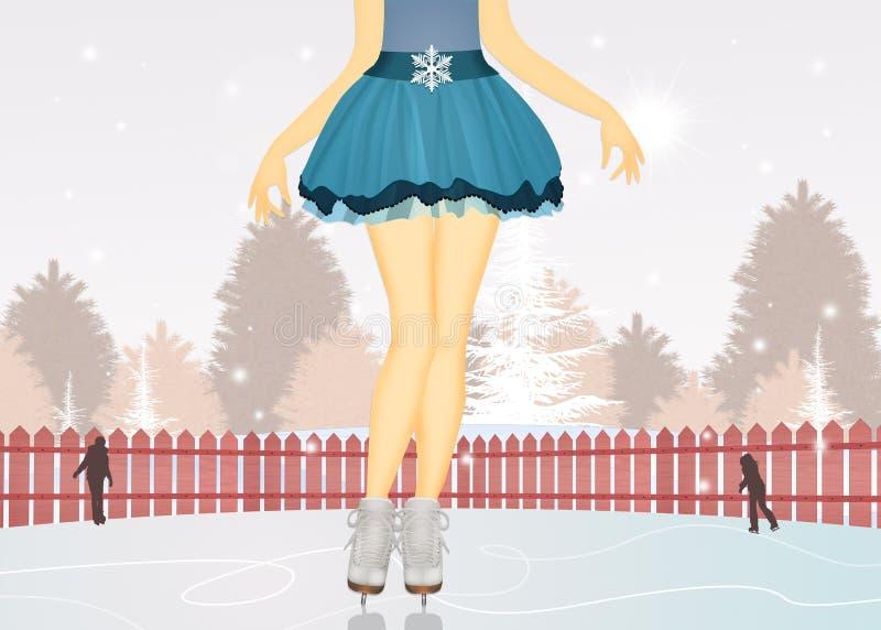 Fille avec des patins de glace illustration stock