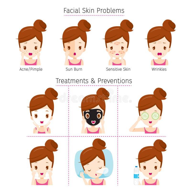 Fille avec des problèmes sur le visage et la méthode au traitement et au Preventio illustration stock