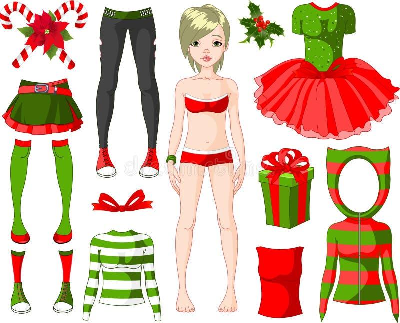 Fille avec des robes de Noël illustration de vecteur