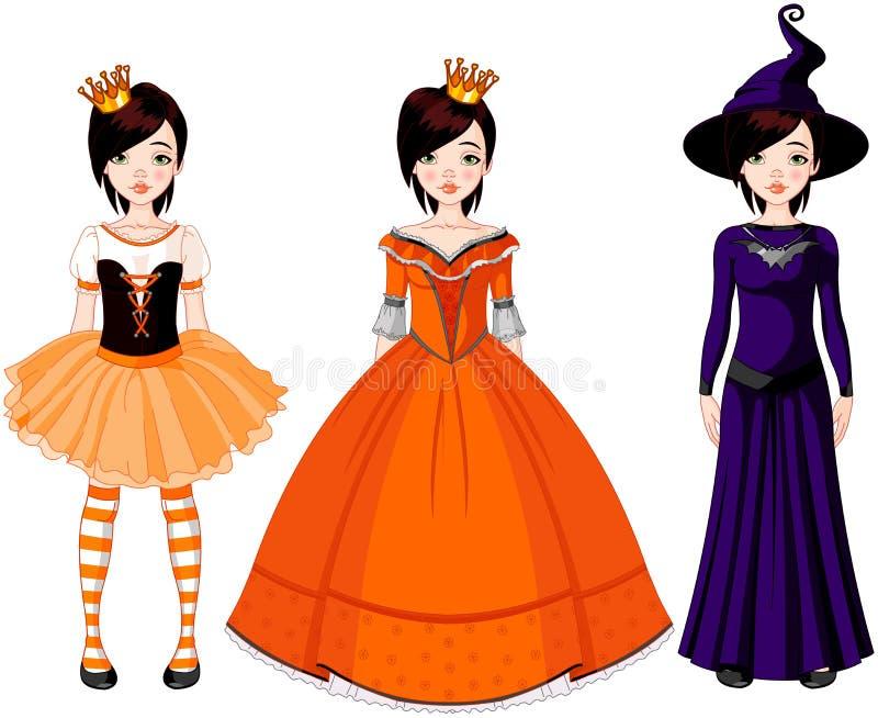 Fille avec des robes pour la réception de Veille de la toussaint illustration stock