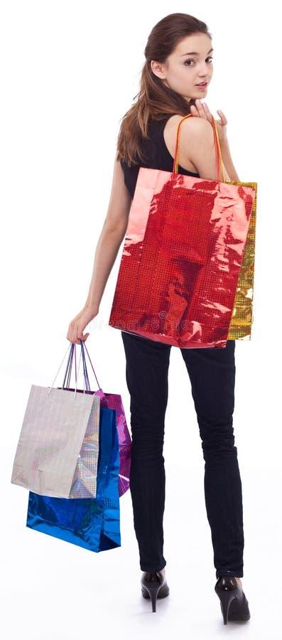 Fille avec des sacs à provisions images stock