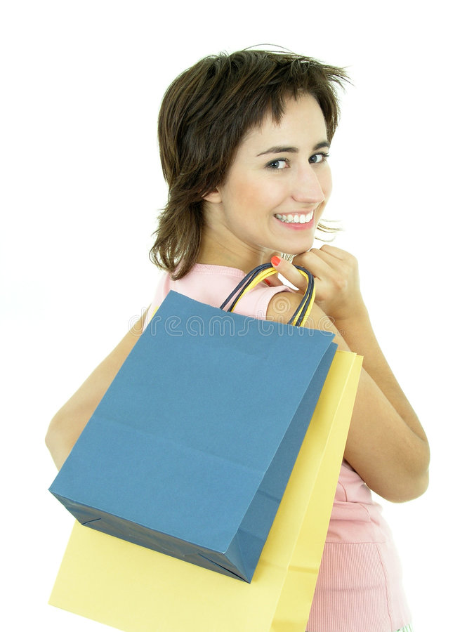Fille avec des sacs à provisions photos libres de droits