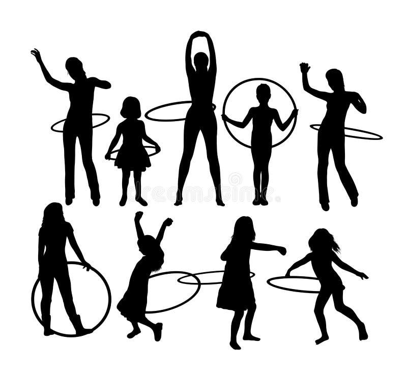Fille avec des silhouettes d'activité de sport de cercle de danse polynésienne, conception de vecteur d'art illustration de vecteur