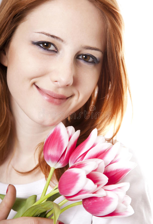 Fille avec des tulipes image libre de droits