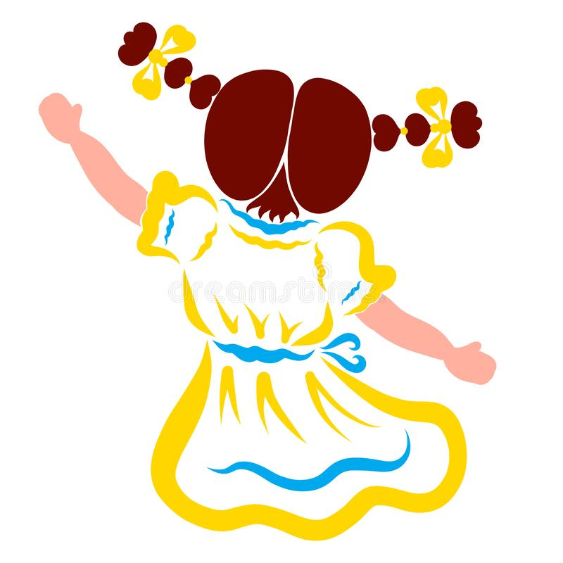 Fille avec deux tresses des coeurs dansant, jouant ou indiquant au revoir illustration stock