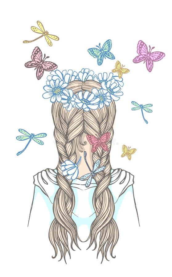 Fille avec deux tresses et guirlande des fleurs, entourée par les papillons de flottement Illustration tirée par la main d'ensemb illustration libre de droits