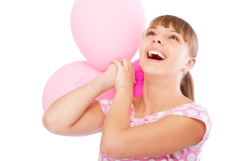 Fille avec du charme avec des ballons photos libres de droits